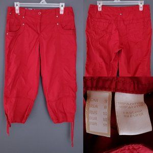 POINT ZERO Capri Pants Crop Cotton High Mid Red